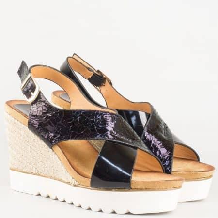 Удобни дамски сандали на платформа в черен цвят 66038ch