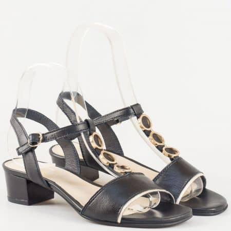 Дамски атрактивни сандали произведени от изцяло естествена кожа на български производител в черен цвят 6614ch