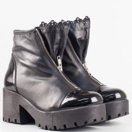 Дамски боти в гръндж стил от естестевена кожа и лак на известен български производител в черен цвят 6641dch