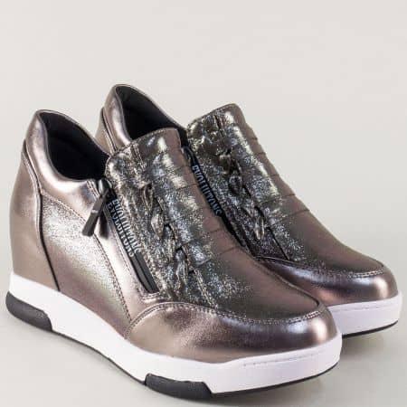 Бронзови дамски обувки на платформа с два странични ципа 6665brz