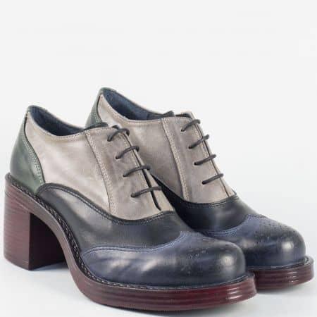 Български дамски обувки на висок ток от естествена кожа в сиво, синьо, зелено и черно 66791ps