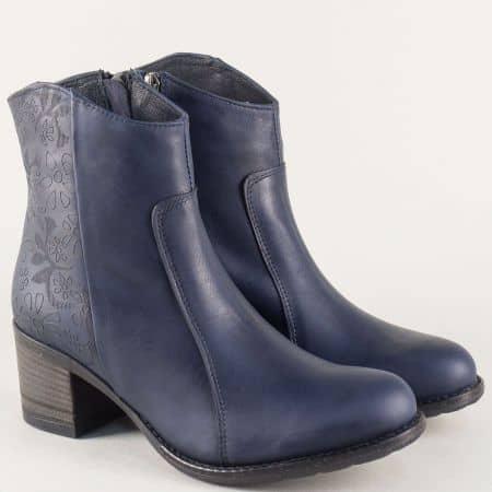 Сини дамски боти от естествена кожа на среден ток 67079s