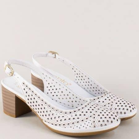Перфорирани дамски обувки от бяла естествена кожа 671229b