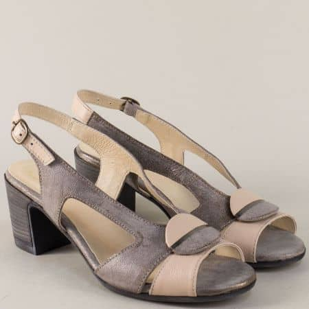 Дамски сандали в розово и сиво с кожена стелка  67131svrz