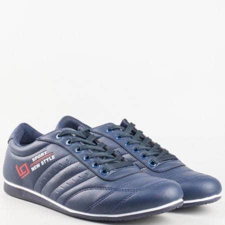 Мъжки спортни маратонки на удобно ходило с връзки в син цвят 671s
