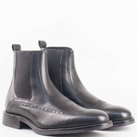 Мъжки комфортни боти със швейцарска визия на български производител в черен цвят 6791ch