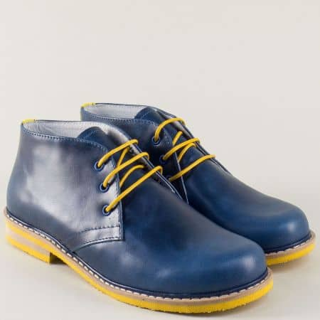 Кожени дамски обувки в син цвят с жълти връзки 69682s
