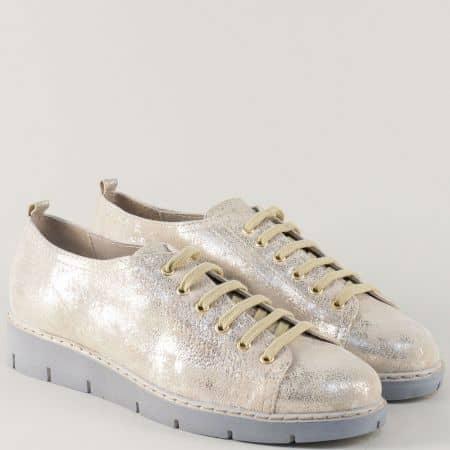 Шити дамски обувки в златисто с кожена стелка и връзки 69886zl