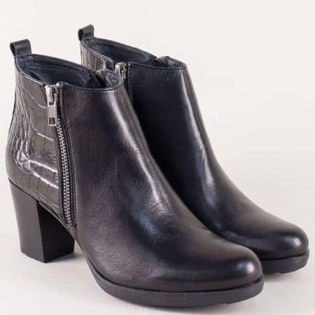 Дамски боти от естествен кроко лак и кожа в черен цвят 69932ch