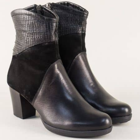 Черни дамски боти от естествен велур и кожа на ток 69934ch