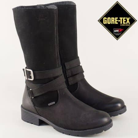 Кожени юношески ботуши- Super Fit в черен цвят 700186-40ch