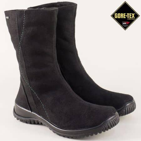 Велурени дамски боти в черен цвят на удобно ходило 700919vch