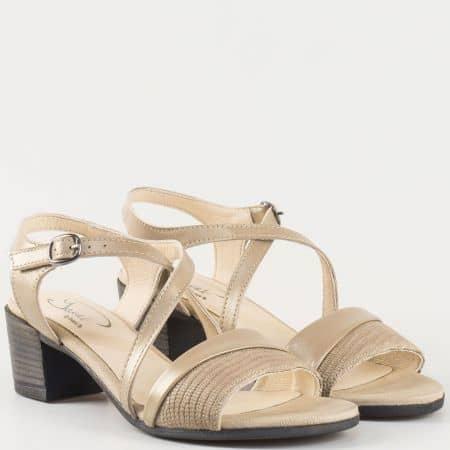 Дамски стилни сандали за всеки ден изработени от 100% естествена кожа на водещ български производител в бежово 70222bj
