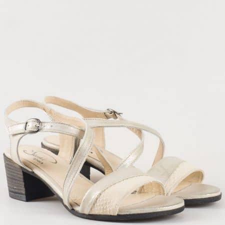Дамски сандали на среден ток изработени от 100% естествена кожа на водещ български производител в сребристо 70222sr