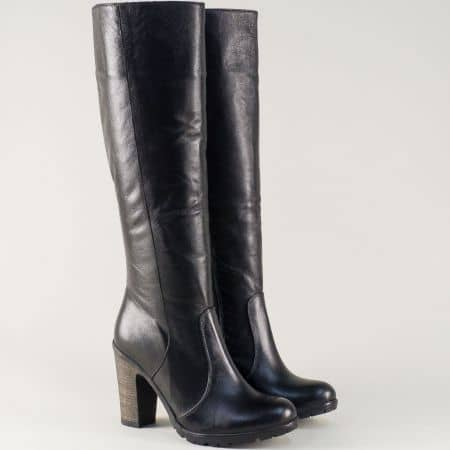 Дамски ботуши на висок ток изработени от естествена черна кожа 70ch