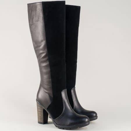 Черни дамски ботуши от естествена кожа и велур на висок ток 70chvch