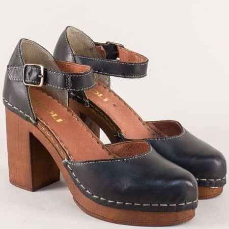 Шити дамски сандали от естесвена кожа в черен цвят 7112020ch