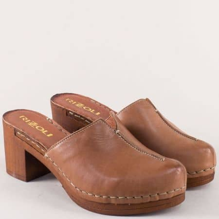 Шити дамски чехли, тип сабо от кафява естествена кожа 7122030k
