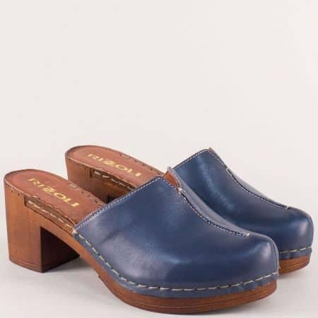 Италиански дамски чехли в син цвят с кожена стелка 7122030s
