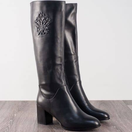 Черни дамски ботуши от естествена кожа на среден ток  7145910ch