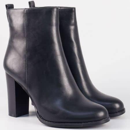 Черни дамски боти на висок ток от висококачествена еко кожа 723306ch