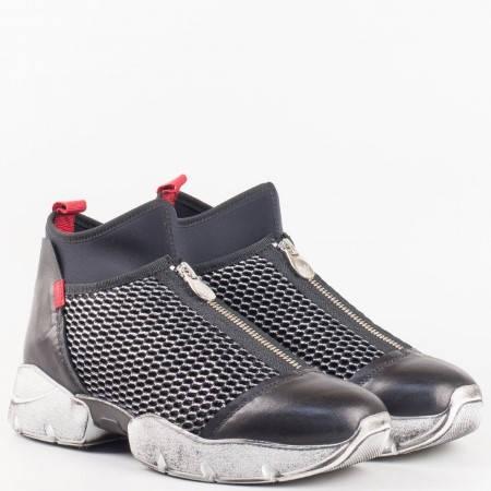 Дамски спортни обувки, тип кец, произведени от висококачествена естествена кожа и текстил на българския производител Navvi в черен цвят 7236ch