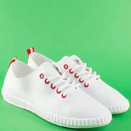Спортни дамски обувки с връзки в червено ибяло 7286-40bchv