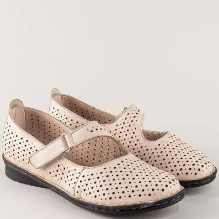 Бежови дамски обувки на нисък ток с кожена стелка 730bj