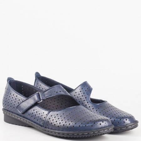 Перфорирани обувки с нисък ток от естествена кожа в син цвят 730s