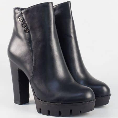 Дамски боти в черно на висок ток- Eliza 731061ch