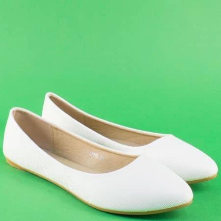 Бели дамски обувки, тип балерини на равно ходило 7310b