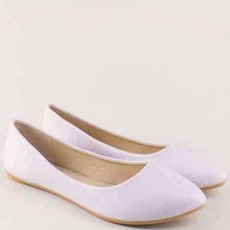 Равни дамски обувки, тип балерини в бежов цвят 7310bj