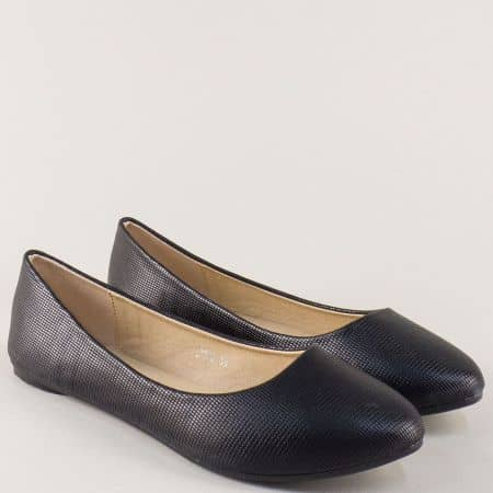 Равни дамски обувки, тип балерини в черен цвят 7310ch