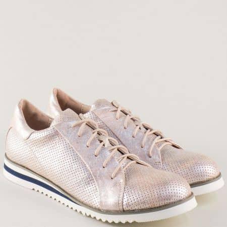 Спортни дамски обувки с връзки в цвят розово злато  7311-40rz