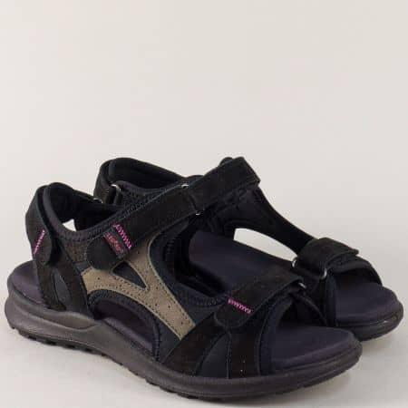 Дамски сандали в черен цвят на равно ходило- Legero  73200ch