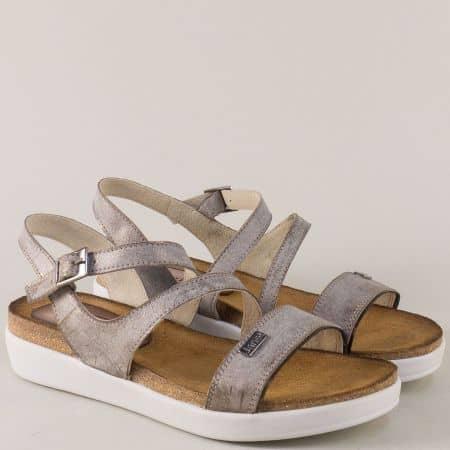 Кожени дамски сандали в сив цвят на платформа 734156sv
