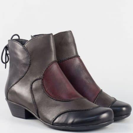 Модерни дамски боти- Remonre в бордо, черно и сиво от естестена кожа на нисък ток 7380ps