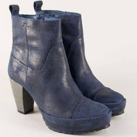Сини дамски боти на висок ток от естествена кожа и велур 74132ns