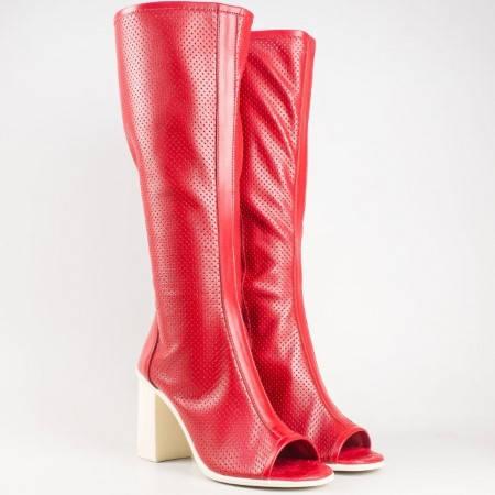 Актуални ботуши с отворени пръсти, на висок ток от червена естествена кожа с перфорация- български производител 744chv