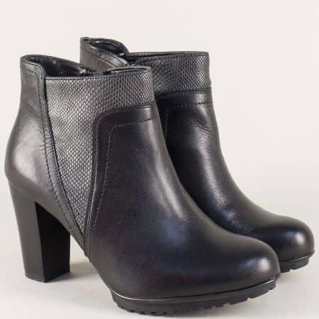 Дамски боти на висок ток от черна естествена кожа 7451ch