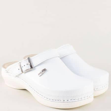 Бели дамски чехли на комфортно ходило от естествена кожа 7514b