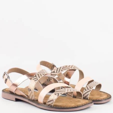 Леки и удобни дамски сандали в бежов цвят-  Lazamani от естествена кожа изцяло 75192bj