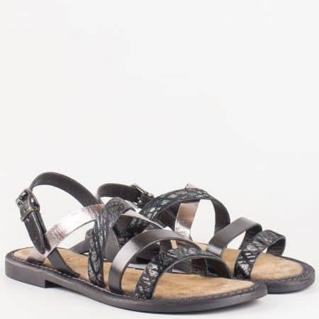 Черни дамски сандали Lazamani от естествена кожа на комфортно, равно ходило  75192ch
