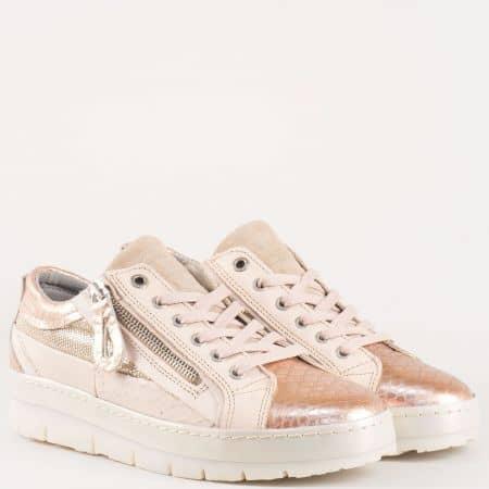 Холандски спортни обувки- дамски с връзки от естествена кожа със змийски принт- Bullboxer в бежово и златно 7525zbj