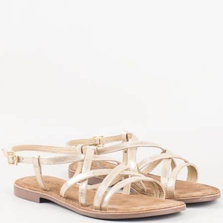 Златни дамски сандали Lazamani на комфортно ходило 75377zl естествена и еко кожа 75377zl