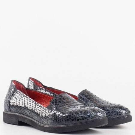 Дамски ежедневни обувки произведени от 100% естествени материали с ортопедична стелка в тъмно син цвят 7556175krsv