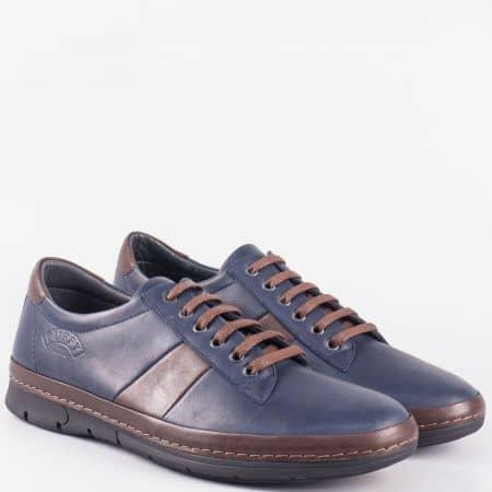 Мъжки ежедневни обувки от естествена кожа в синьо и кафяво 761sk