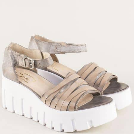 Български дамски сандали на платформа в бежов цвят 762981bj