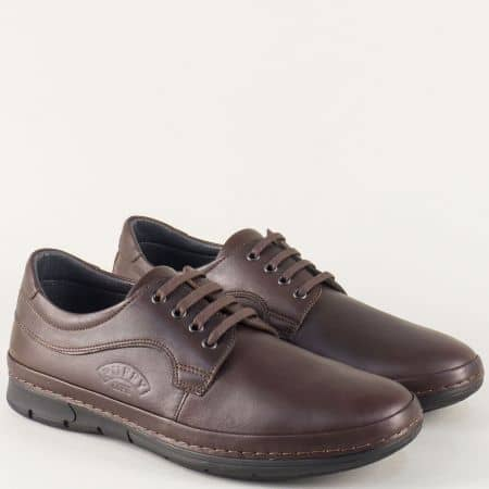 Шити мъжки обувки от кафява естествена кожа с връзки 763kk