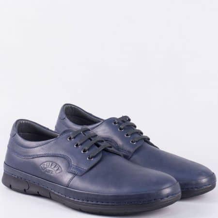 Сини мъжки обувки с шито ходило от естествена кожа 763s